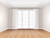 empty room with big window