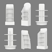 Empty shelving stands. Merchandising market retail display racks in supermarket vector realistic illustration