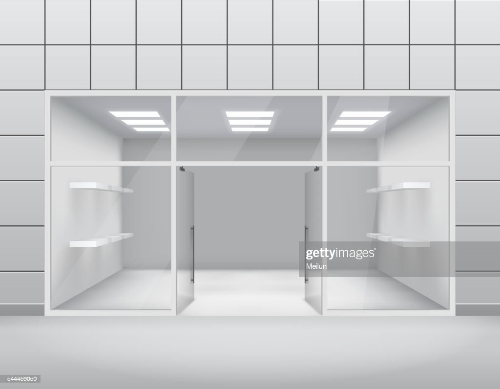 Empty shop front boutique window and open door 3d template