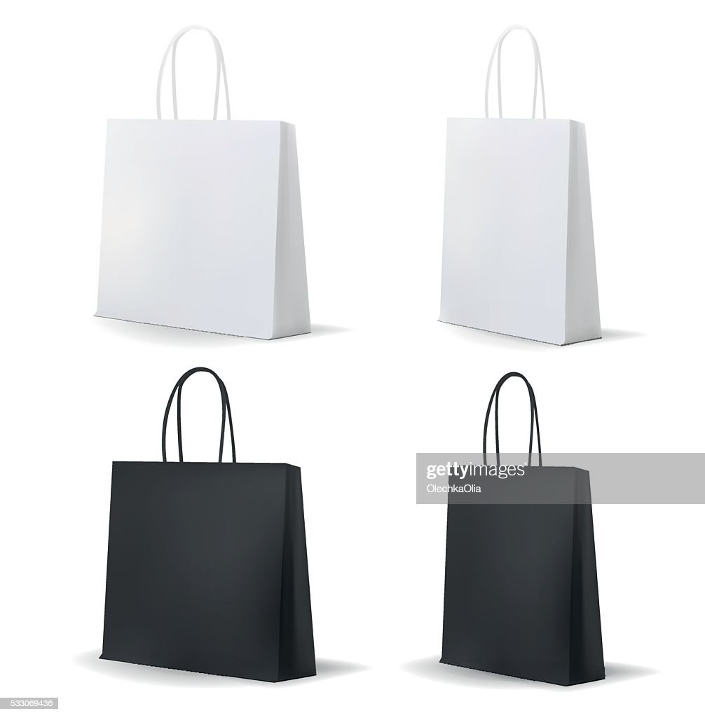 Empty Shopping Bag White and Black Set