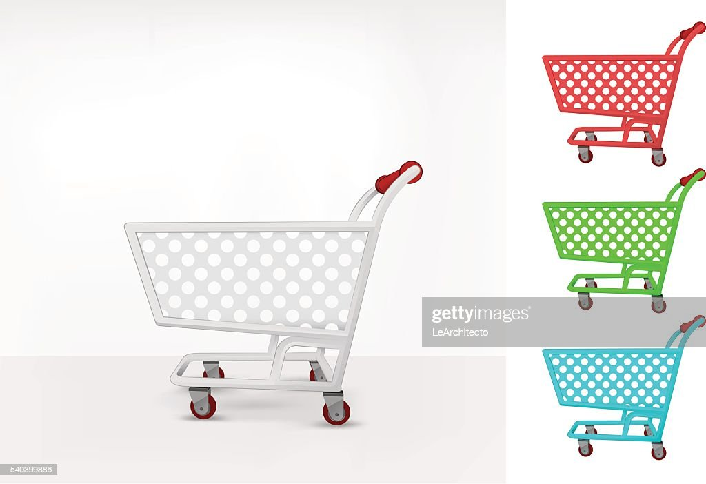 empty shopping cart colorful collection concept vector