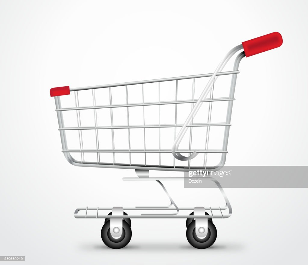 Empty Shopping Cart Trolley Vector in isolated White Background