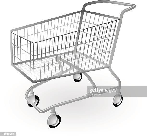 Empty shopping trolley on a white background