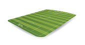 Empty soccer field in perspective with 3D appearance on white background