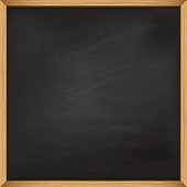 Empty square blackboard with wooden frame. Template