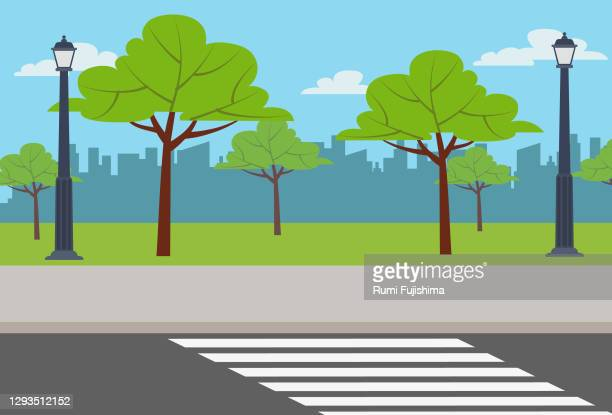 empty street - zebra crossing stock illustrations