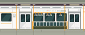 Empty subway train inside view. Metro carriage vector interior