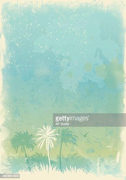 ilustraciones, imágenes clip art, dibujos animados e iconos de stock de vacío verano fondo vintage - hoja de palmera
