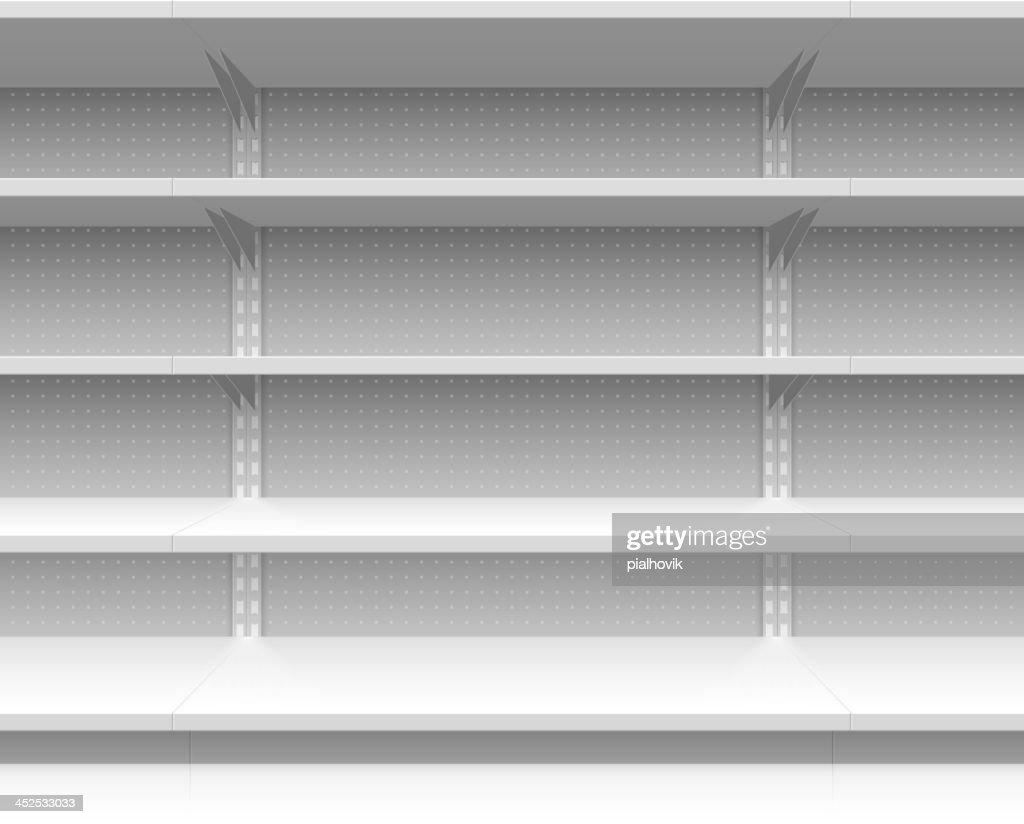 Empty supermarket shelves vector illustration