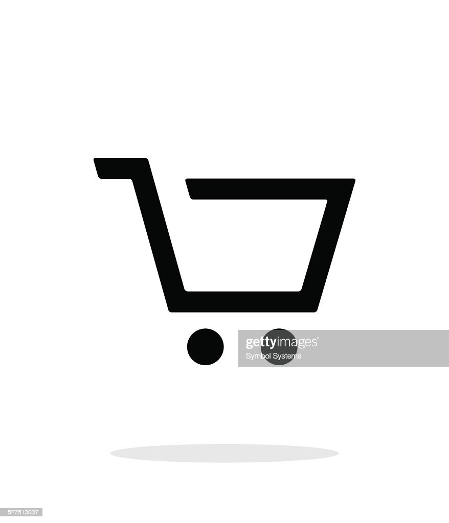 Empty supermarket shopping cart simple icon on white background.