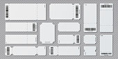 Empty ticket template. Concert movie theater and boarding blank white tickets, lottery coupons with ruffle edges. Vector isolated set