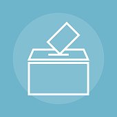 Empty transparent ballot box with marked
