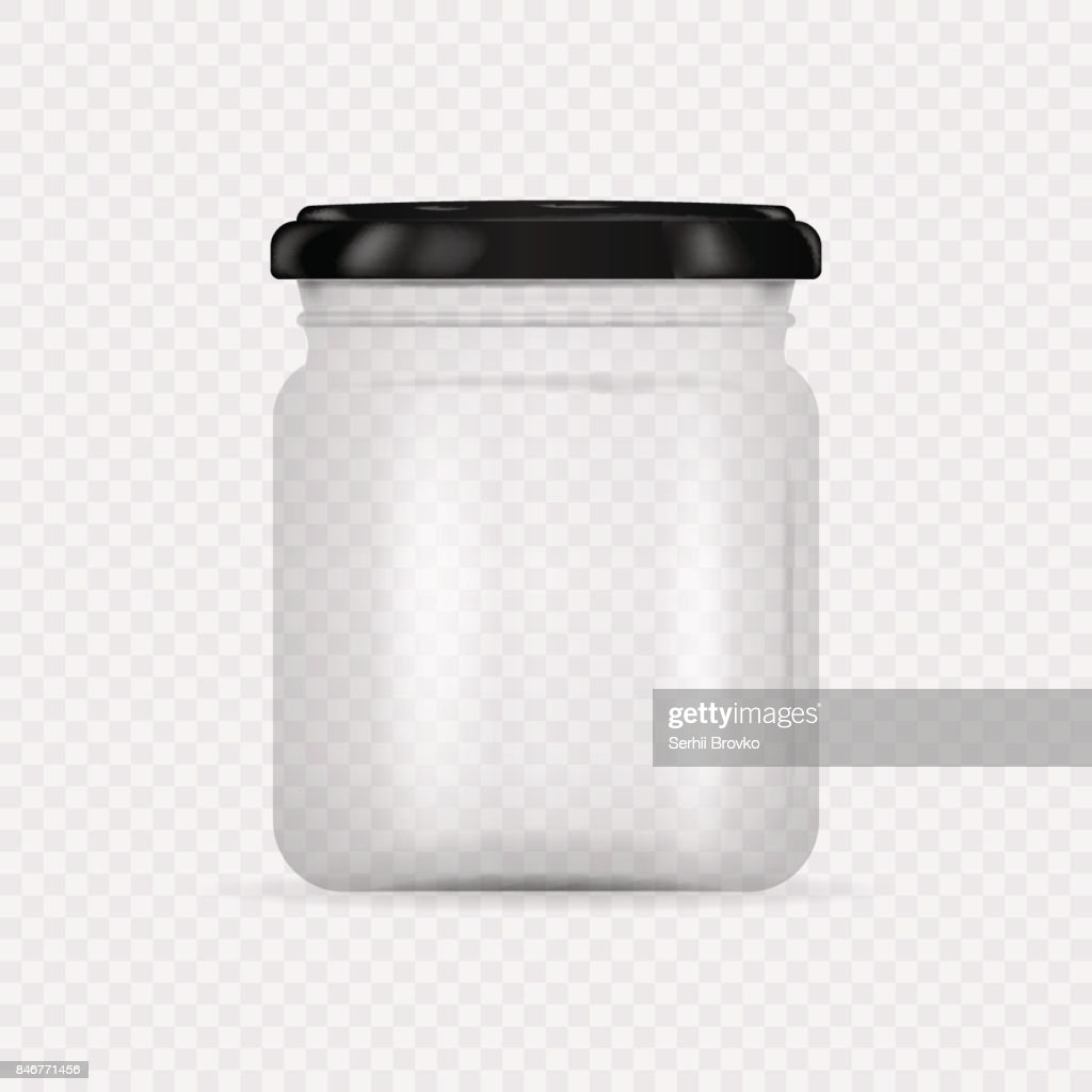 Empty transparent glass jar with screw cap. Round Shape Glass Canister isolated on transparent background. Vector illustration.