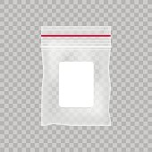 Empty transparent plastic pocket bag. Blank vacuum zipper bag  on the transparent background. Vector illustration