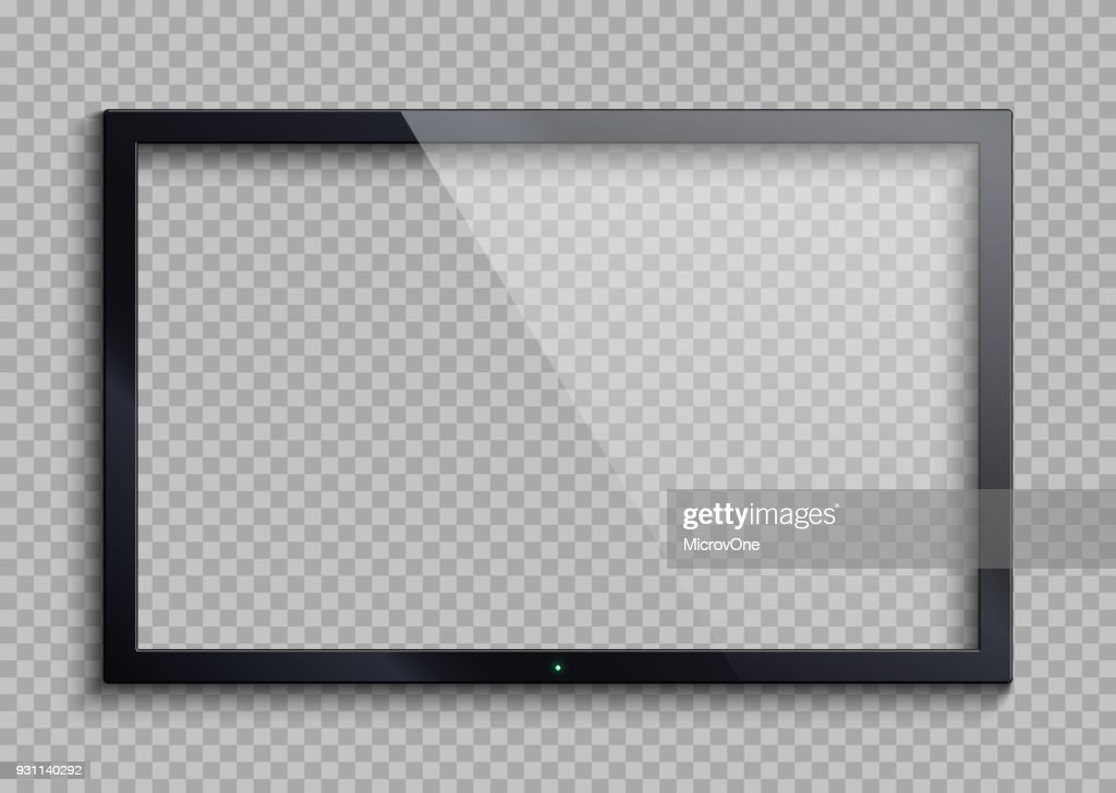 Empty tv frame with reflection and transparency screen isolated. Lcd monitor vector illustration