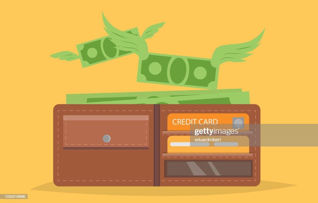 Empty wallet money flying