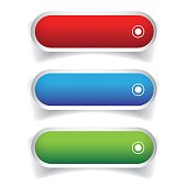 Empty web buttons vector - gree, blue, red