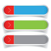 Empty web buttons vector - green, blue, red