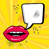 Empty white comic bubble for your text with red lips on yellow background. Comic sound effects in pop art style. Vector illustration