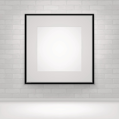 Empty White Mock Up Poster Picture Black Frame on Brick 641985962