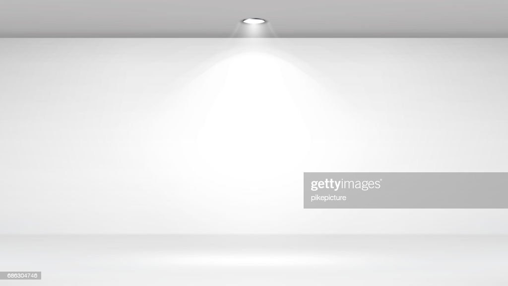 Empty White Photo Studio Interior Background. Clean Iight Interior Scene Mock Up. Vector Illustration