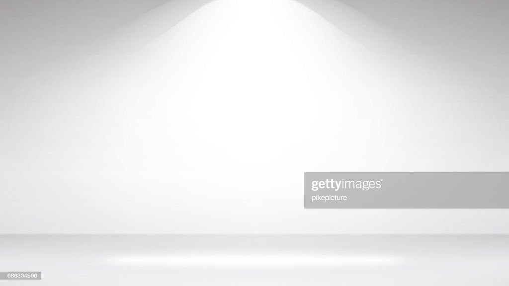 Empty White Photo Studio Interior Background. Realistic Empty White Wall. Vector Illustration