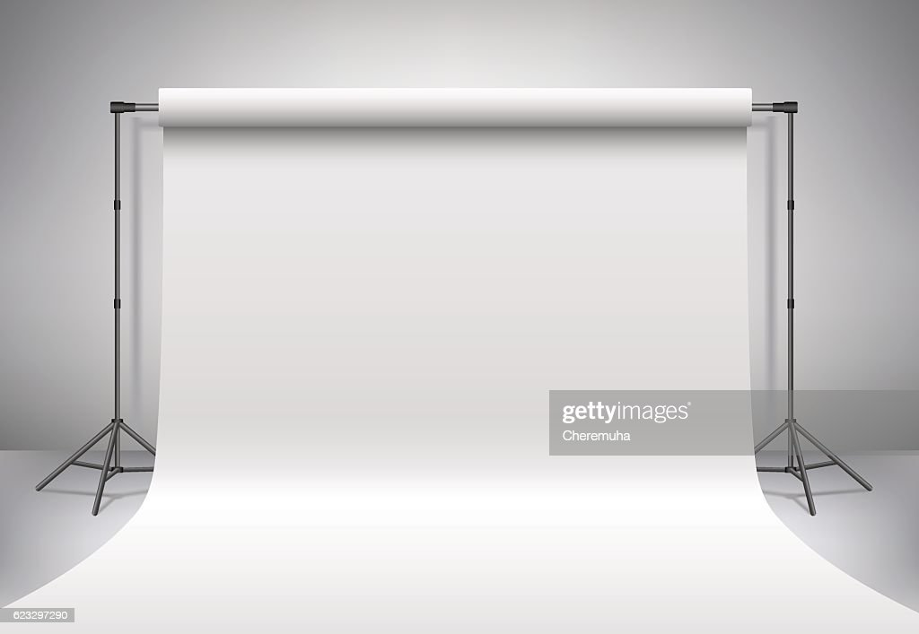 Empty white photo studio. Realistic 3D template mock up. Vector.
