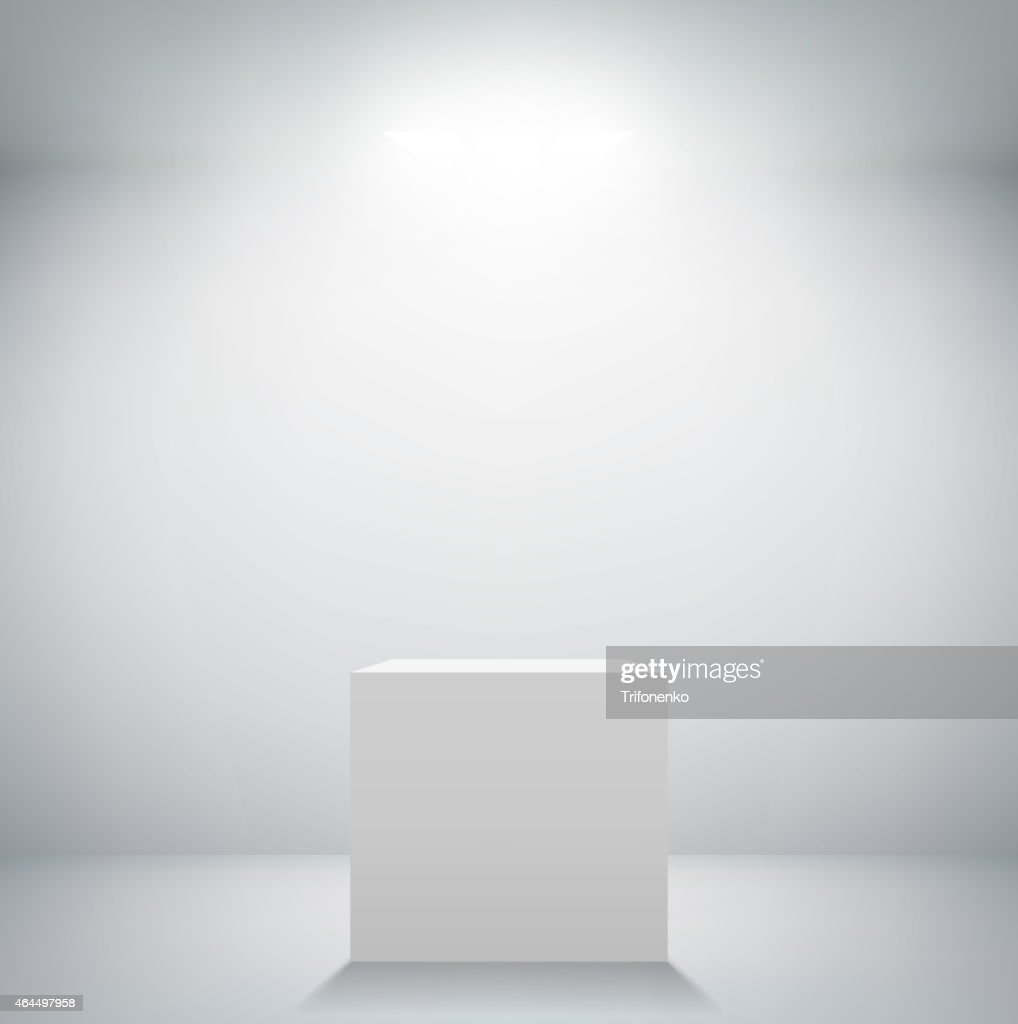empty white room with a pedestal for presentation