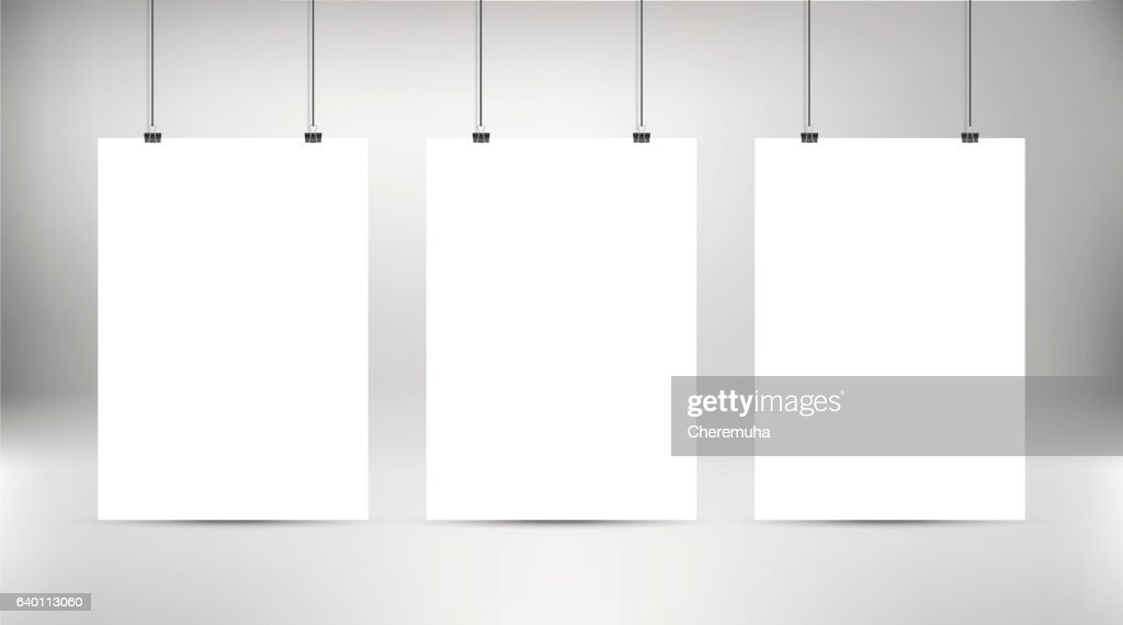 Empty white vector poster templates. Poster mockup.