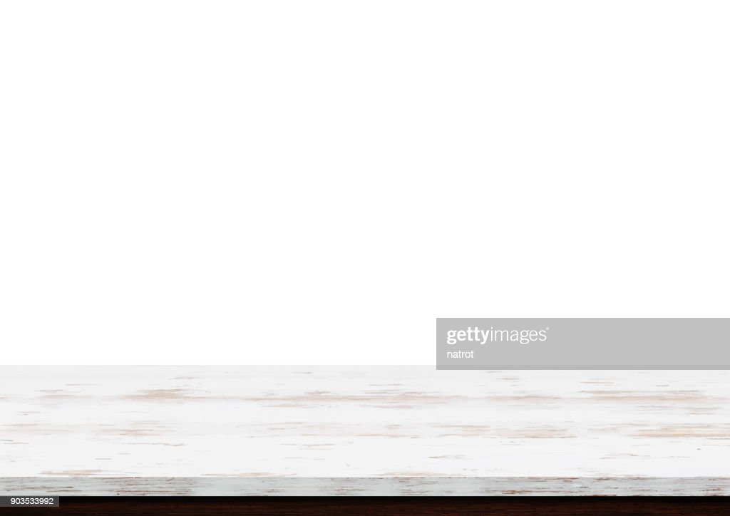 Empty white wood table top isolated on white background