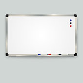 Empty whiteboard with color markers and magnetic , whiteboard background