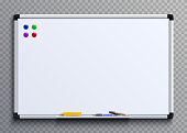 Empty whiteboard with marker pens and magnets. Business presentation office white board isolated vector mockup