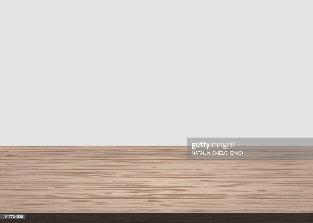 Empty wood table top on white concrete background. Wooden background