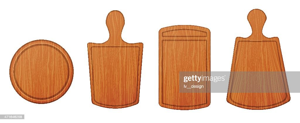 Empty wooden cutting boards and chopping boards