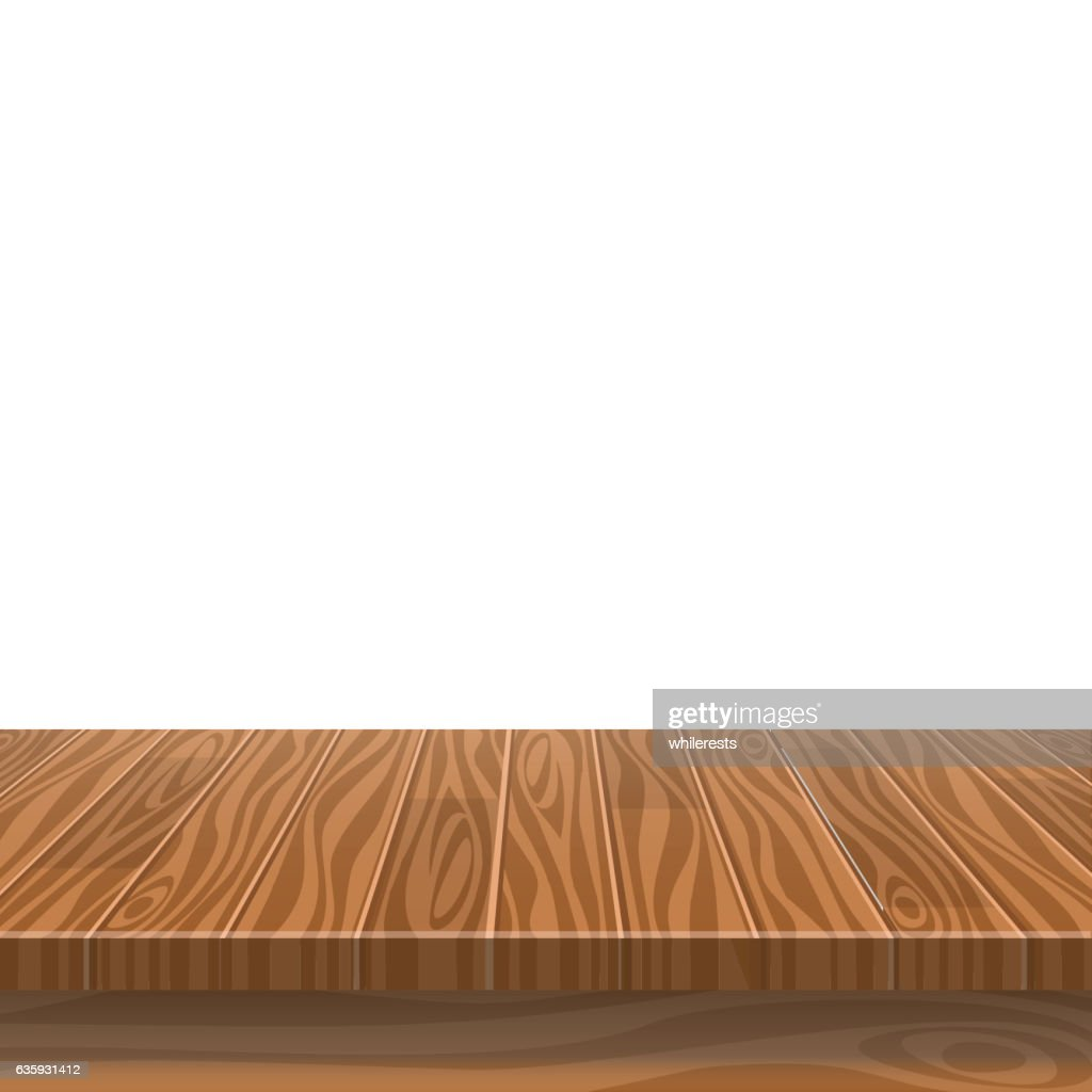 Empty wooden table in a sun drenched summer garden for