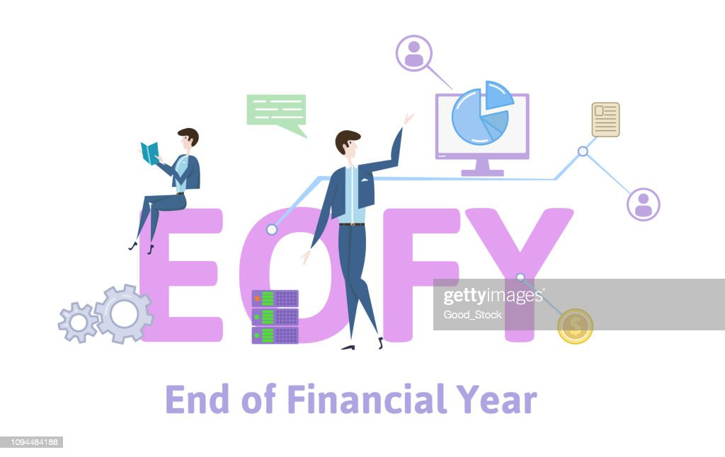 EOFY, End of Financial Year. Concept table with keywords, letters and icons. Colored flat vector illustration on white background.