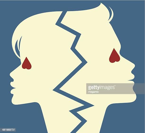 illustrazioni stock, clip art, cartoni animati e icone di tendenza di fine dell'amore. - separazione