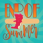 end of summer banner square vector design