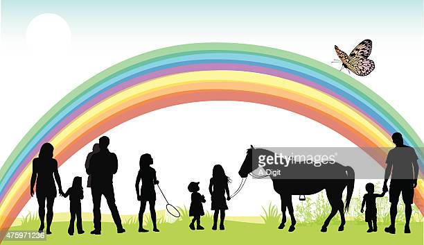 end of the rainbow - kids hugging mom cartoon stock illustrations