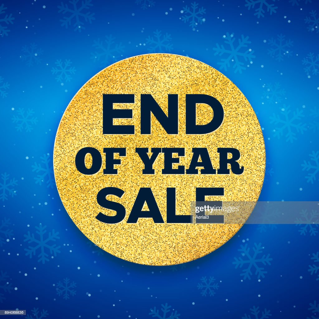 End of Year Sale promo vector background. Promotion banner for Christmas clearance. Golden circle with typography on blue backdrop. Vector illustration