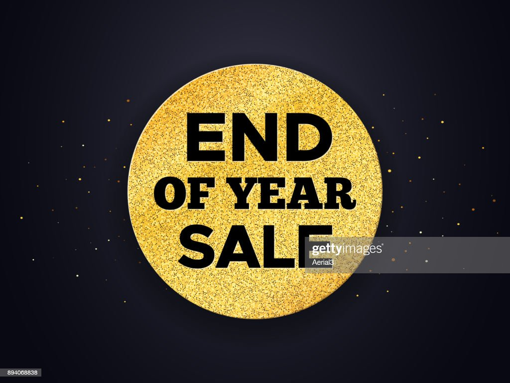 End of Year Sale promo vector background. Promotion banner for Christmas clearance. Golden circle with typography on black backdrop. Vector illustration