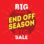 End Off Season Big Sale. Vector vintage illustration
