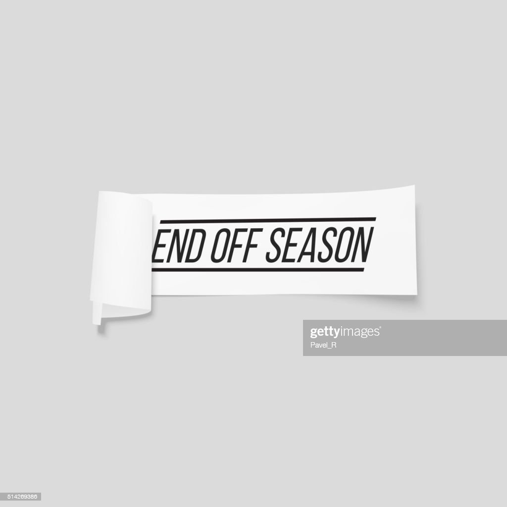 End off season, sale sign, paper banner, vector ribbon with