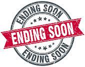 ending soon round grunge ribbon stamp