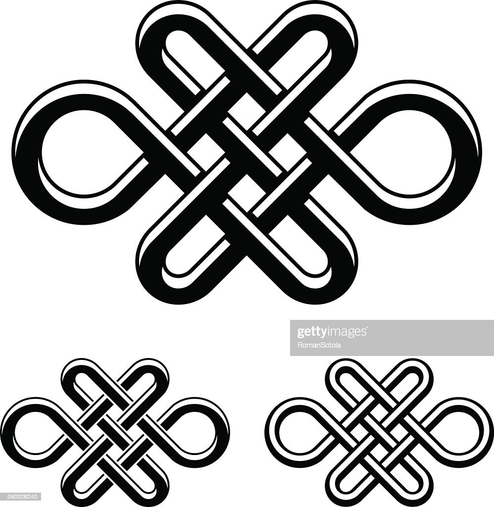 endless celtic knot black white symbol