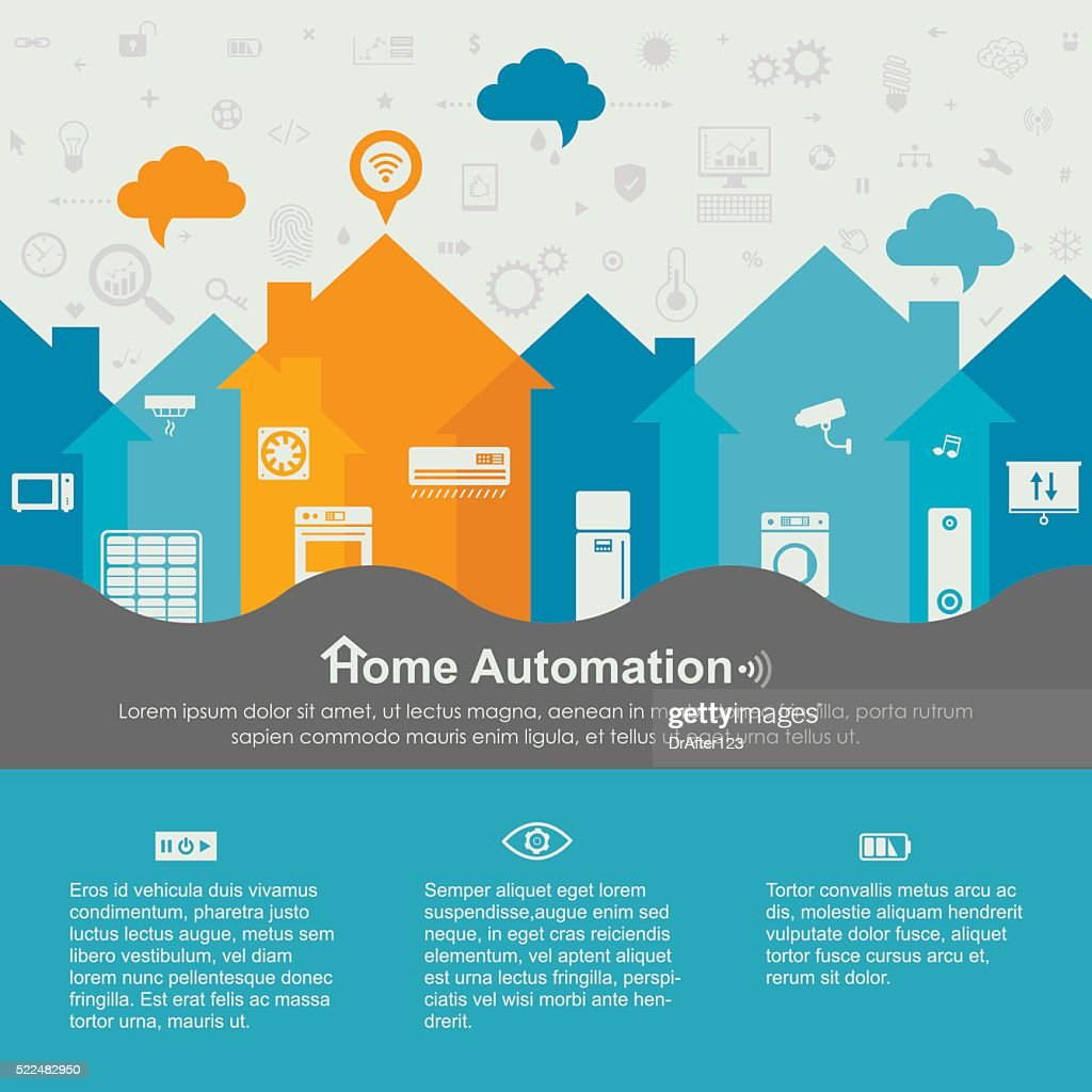 Endless Home Automation Template With Icons Included Vector Art ...