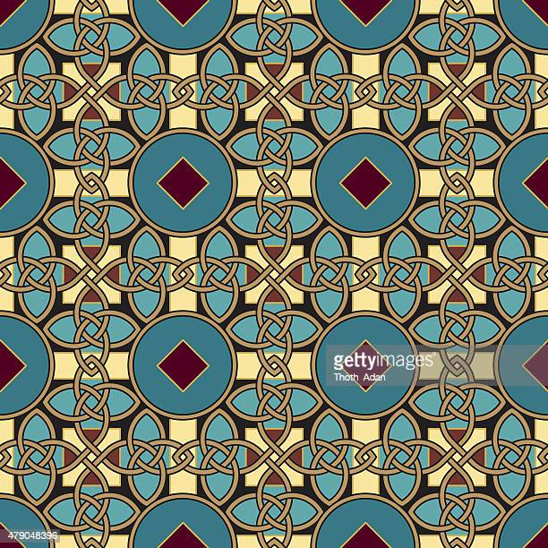 endless knot pattern (seamless celtic knot tapestry variation n° 5) - celtic music stock illustrations, clip art, cartoons, & icons