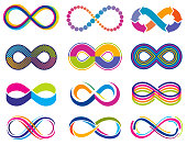 Endless mobius loop infinity vector concept symbols. Eternity icons