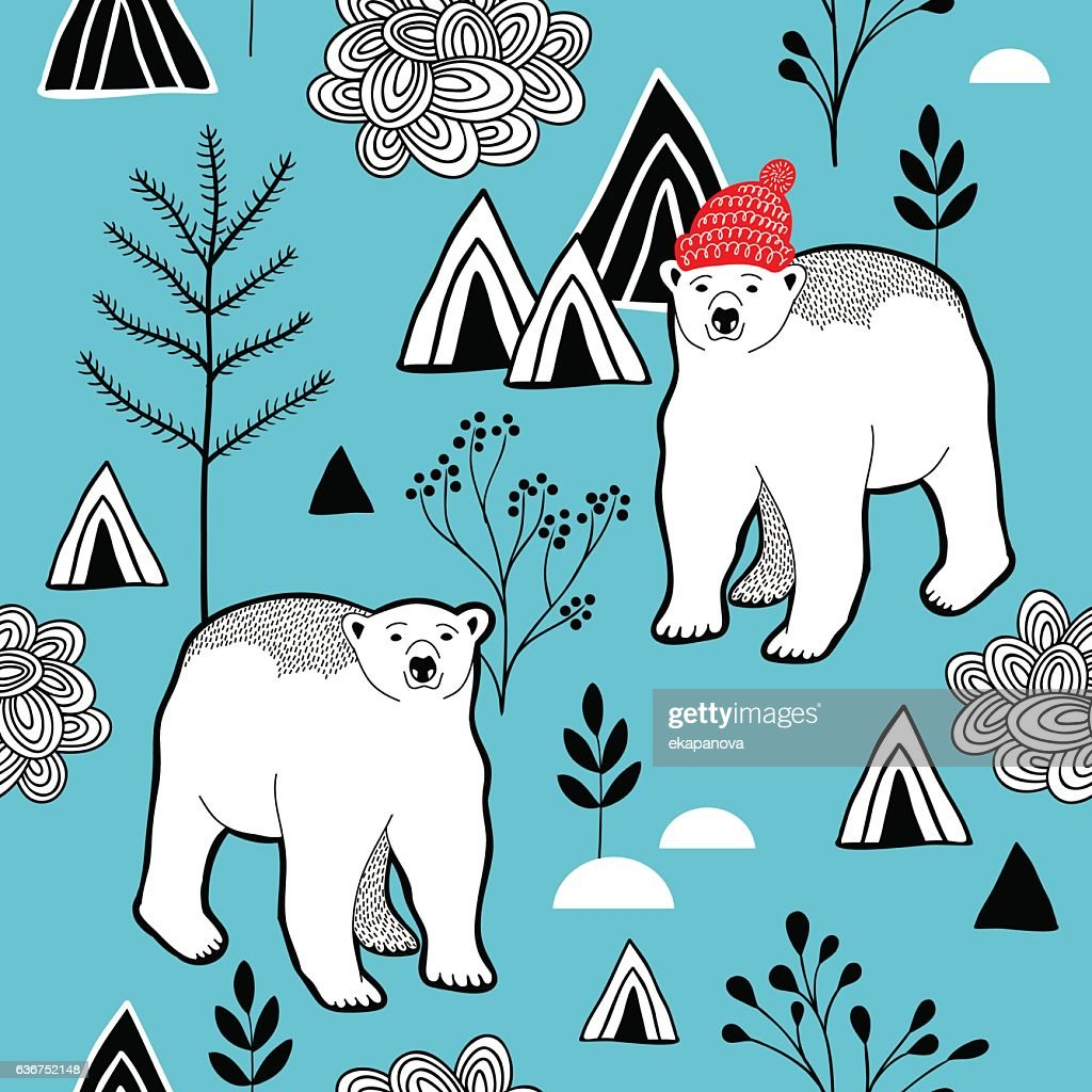 Endless pattern with polar bear in red heat.