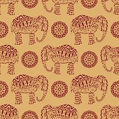 Endless texture with stylized patterned elephant and mandala in Indian style.
